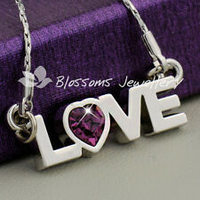 18K White GOLD GF Purple Heart LOVE Word PENDANT Necklace SWAROVSKI CRYSTAL S26