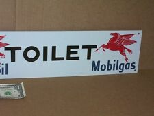 Flying Red Horse OUTHOUSE / TOILET Sign - Mobiloil Mobilgas - RESTROOM DOOR Sign