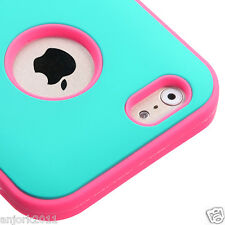"iPhone 6 (4.7"") Hybrid Armor Defender Case Glow-in-Dark Cover Teal Green Pink"