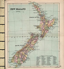c1880 VICTORIAN MAP ~ NEW ZEALAND NORTH & SOUTH ISLANDS ~ WITH COUNTIES