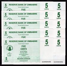 Zimbabwe 10 pcs x 5 Cents 2006 / AA-prefix (consecutive), UNC (P-34)
