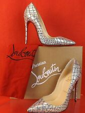 NIB LOUBOUTIN SO KATE 120 SILVER BROCADE CROCCO LUREX CLASSIC PUMPS 37 $695