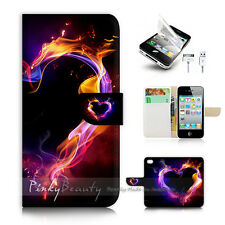 iPhone 4 4S Print Flip Wallet Case Cover! Abstract Smoke Love Heart P0449