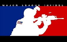"2x3.25"" MAJOR LEAGUE INFIDEL Sticker / decal. Military USA Patriot Rifle laptop"