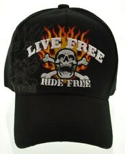 NEW! CHOPPERS LIVE FREE RIDE FREE SKULL FLAME BIKER CAP HAT BLACK