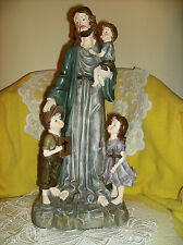 DELUXE Jesus Watches Over The Little Children FIGURINE NEW IN BOX large SALE 16""