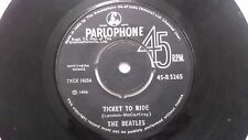 THE BEATLES 45 R 5265 BLACK PARLOPHONE TICKET TO RIDE rare SINGLE INDIA 36 VG