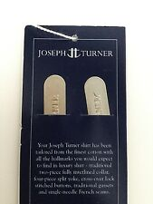 BNIP PAIR OF JOSEPH TURNER BRUSHED ALUMINIUM COLLAR STAYS