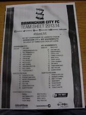 29/03/2014 Teamsheet: Birmingham City v Bournemouth. This item has been inspecte