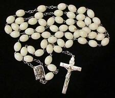 "Vtg Rosary GLOW IN THE DARK 31"" I Am Catholic In Case Of Accident Notify Priest"