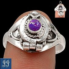 (98766) POISON RING COPPER PURPLE TURQUOISE GEM 925 STERLING SILVER RING SIZE 9