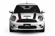 Mini Cooper 2014-2016 Black and Red Hood Stripe Decals - Exact Fit No trimming