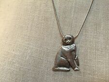 Hand Cast Sterling Silver Scottish Fold Cat Necklace by Barbara Sacco FS