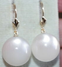 14K GOLD QUALITY LARGE 16MM ROUND MOONSTONE  MOON STONE LEVER BACK  EARRINGS