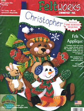 Felt Embroidery Applique Kit ~ Dimensions Toboggan Trio Christmas Stocking #8145