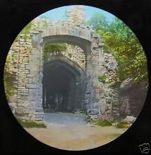 Glass Magic lantern slide DUDLEY TO WARWICK NO.2 C1890 DUDLEY CASTLE GATE