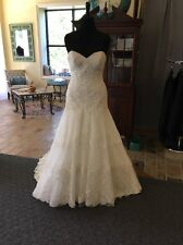 David Tutera NWT #115249 Ivory Lace Drop Waist A-Line Wedding Dress Size 14