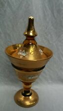 Beautiful vtg. large Bohemian glass gold  flower amber  paint compote with lid