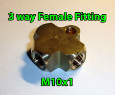 Brake Line Pipe Brass T 3 way Female Fitting Connector Splitter M10x1 Metric A