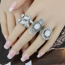 3pcs Women Gypsy Antique Silver Carved Stylish Opal Midi Knuckle Rings Set