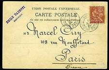 FRENCH LEVANT-1903 Picture Postcard to Paris bearing 10c Rose neatly cancelled