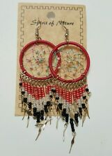 Spirit Of Nature Red/Black Dream Catcher Thread Bead Dangle Handmade Earrings