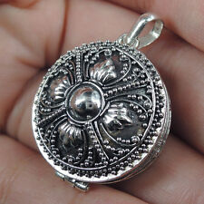 Round SOLID 925 STERLING SILVER PRAYER BOX Pendant Locket Jewellery, ETHNIC