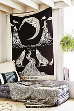 Crying Wolf of The Moon Twin Tapestry wall hanging Bohemian Bed Sheet Ethnic Art