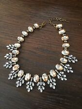 JCREW Baublebar Inspired Peach Rhinestones Statement Necklace Wreath Collar