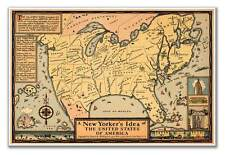 New Yorker's Idea of the United States of America Vinatge Old USA MAP circa 1939