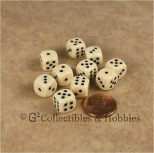 NEW 10 Ivory 10mm Rounded Edge RPG D&D Game D6 Dice Set 6 Sided Koplow
