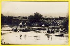 cpa CARTE PHOTO Passage PONT de SINGE CHEVAUX Barque Soldat Militaires St Cyr?