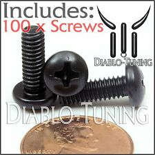 "#8-32 x 1/2"" - Qty 100 -  Phillips PAN HEAD Machine screws - Steel Black Oxide"