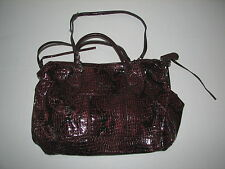 "Guess Leather Snake Print Handbag Purse Bag Maroon Red Black 16"" Across"
