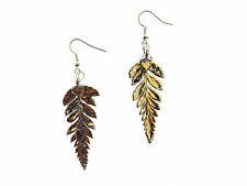 Long Fern Real Leaf Silver Dipped/ Plated Earrings French Wire Dangle Made in US