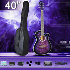 "40"" Inch Electric Acoustic Guitar Wooden With Guitar Stand Tuner Bag New"