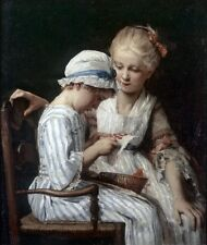 Nice Oil painting Albert Anker - Die Stickerinnen children sewing needlework art