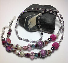Handmade Purple Stone Pearl Eyeglass Chain/Lanyard W/ Swarovski Elements USA