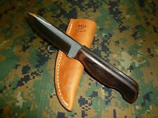 "Anza Knives Large 8"" Polished File Knife Wood Grips ""CAD"" Custom Skinner"