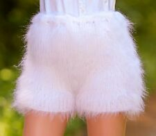 WHITE Hand Knitted Mohair Pants Fuzzy Underwear Handmade Shorts SUPERTANYA S M L
