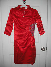 Women satin 3/4 sleeves red dress w/ embroidery party wedding size US S new
