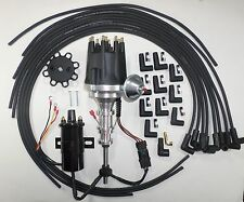 FORD Y Block 272-292-312 BLACK Small HEI Distributor, Round Coil, Plug Wires 90s