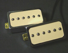 Dragonfire H90s Humbucker-Sized Cased P90s Set, Ivory- Chrome