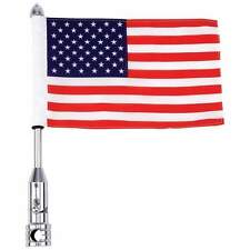 New Diamond Plate Motorcycle Flag Pole Bike Mount USA Flag US Flag