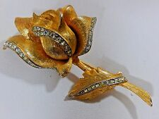 VTG. BOUCHER UNSIGNED GP RHINESTONE ROSE FLOWER FIGURAL BROOCH PIN EVC.