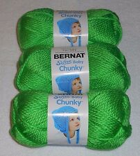 "Bernat Softee ""Baby"" Chunky Yarn Lot Of 3 Skeins (Sprout Green #96010) 5 oz."