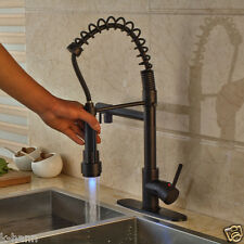 Oil Rubbed Bronze Deck Mounted LED Spout Kitchen Sink Faucet With Cover Plate