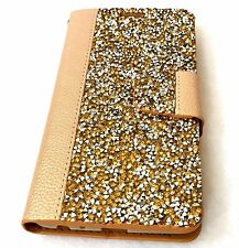 LG Stylo 2 / Stylo 2 PLUS - Card Wallet Diary Pouch Case GOLD Diamond Bling Stud