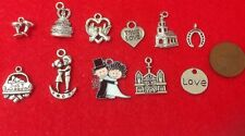 SET OF 11 BRIDE & GROOM WEDDING COUPLE & THEMED SILVER TONED CHARM PENDANTS