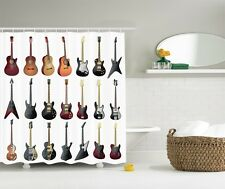 Vintage Music Guitars Graphic Shower Curtain Musical Instruments Bath Curtain